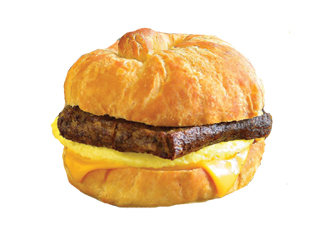 Scrapple, Egg & Cheese Breakfast Sandwich.
