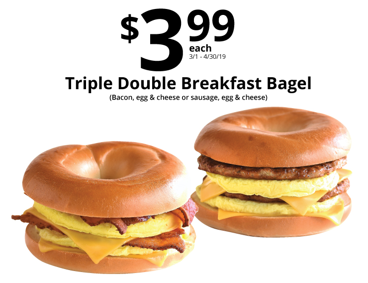 399 triple double breakfast bagel