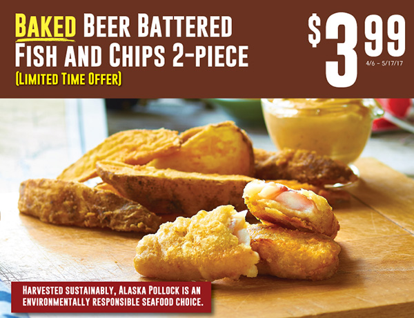 Baked Beer Battered Fish and Chips 2-Piece