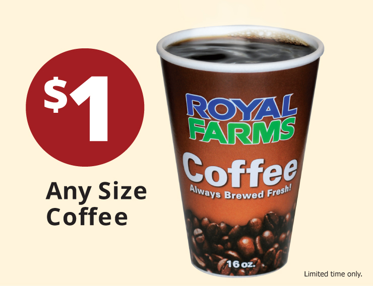 $1 Any size coffee