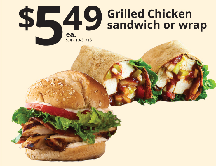 549 grilled chicken sandwich or wrap