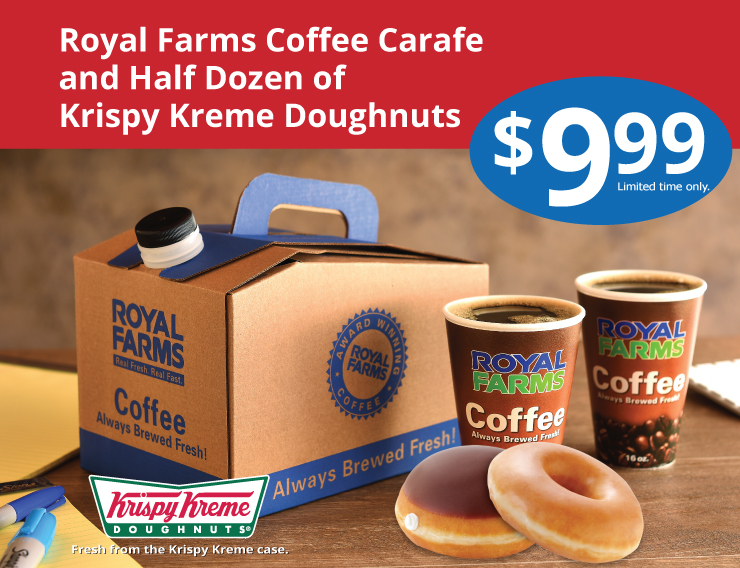 Royal Farms Coffee Carafe and Half Dozen of Krispy Kreme Doughnuts
