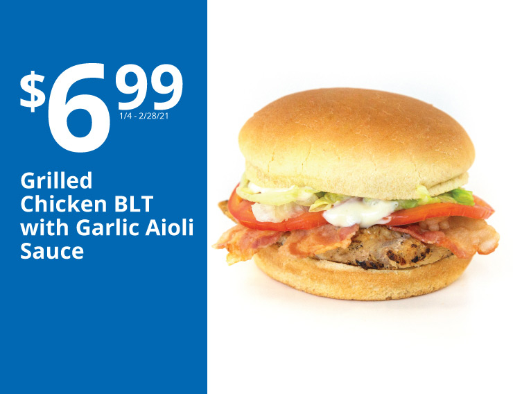 6.99 grilled chicken blt with garlic aioli sauce