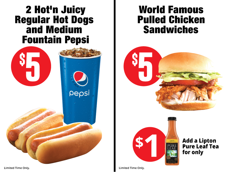2 hot n juicy regular hot dogs / world famous pulled chicken