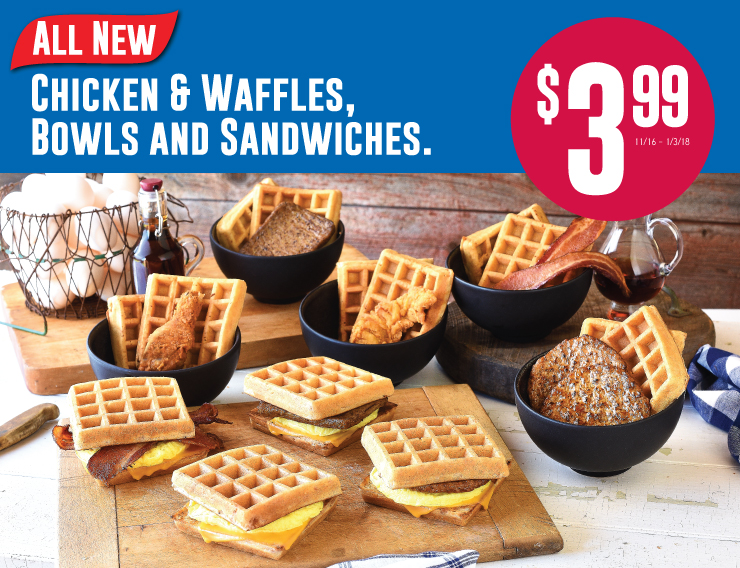 All New Chicken and Waffles, Bowls and Sandwiches
